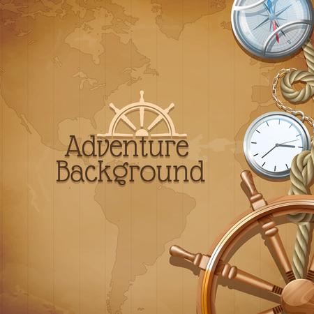 mediaval: Cartel de Aventura con los s�mbolos de navegaci�n mar retro y mapa del mundo sobre fondo ilustraci�n vectorial