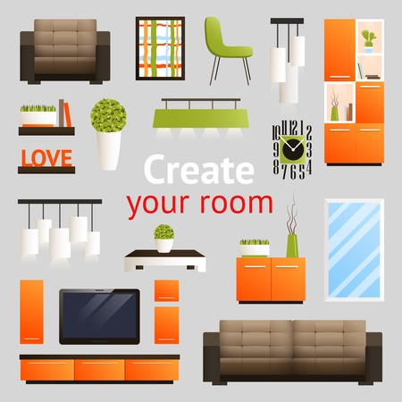 dressing room: Create your room set with living room furniture objects isolated vector illustration Illustration