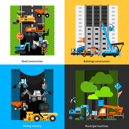 mini loader: Construction industry and machines icons set with mining roads and buildings flat isolated vector illustration