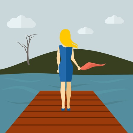 sad: Lonely girl standing on a lake pier with dry tree and grey sky on background flat vector illustration