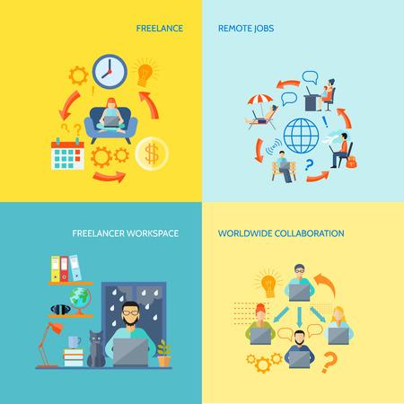 Freelancer espacio de trabajo de colaboración en todo el mundo y el empleo remotas color plano icono decorativo aislado ilustración vectorial conjunto