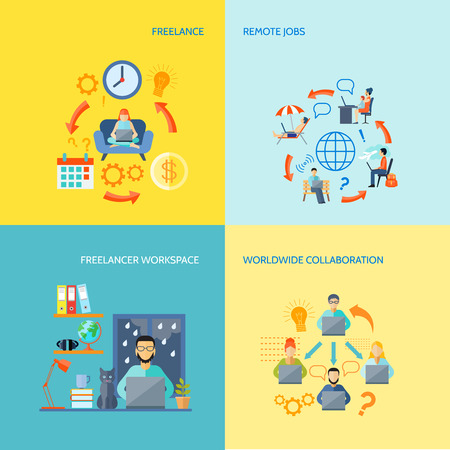 work environment: Freelancer workspace worldwide collaboration and remote jobs flat color decorative icon set isolated vector illustration Illustration