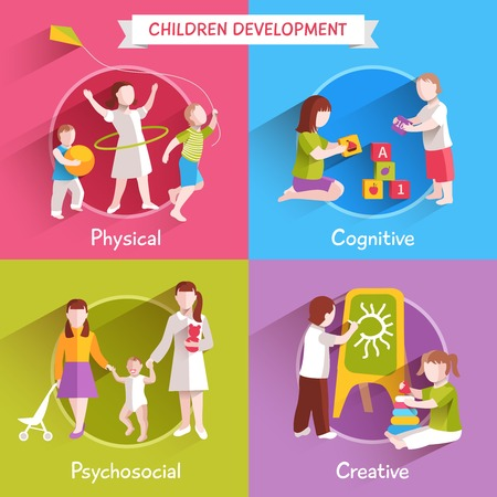 physical: Children design concept set with physical cognitive and creative process flat icons isolated vector illustration