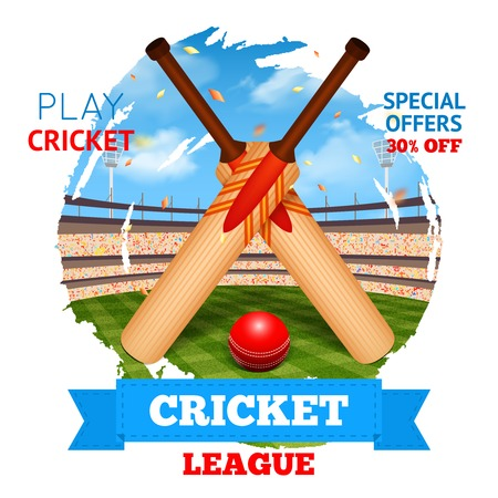 championship: Cricket concept with game bats and ball and stadium on background vector illustration