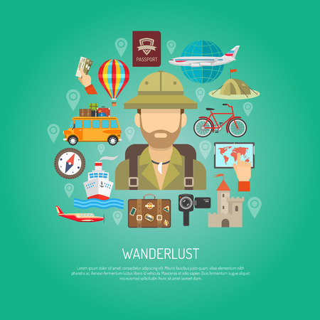 wanderlust: Travel attribution plane ship tent map and wanderlust tourist person flat color concept vector illustration Illustration