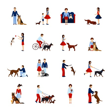 People playing and walking with different breeds of dogs set isolated vector illustration