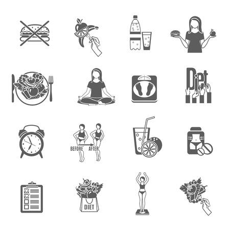 黒絵文字コレクション抽象的な分離ベクトル図の女性のための健康的な体重損失とメンテナンス ダイエット プログラム