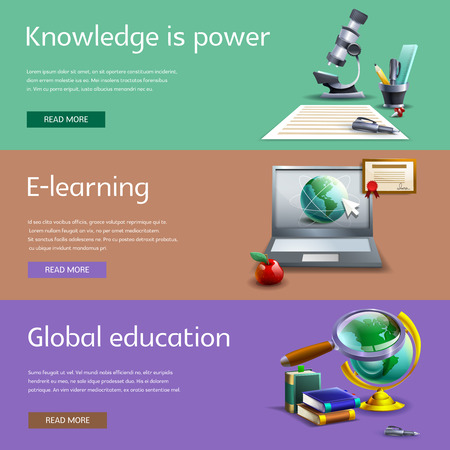 study cartoon: Education and study cartoon horizontal banners set with online and global learning isolated vector illustration