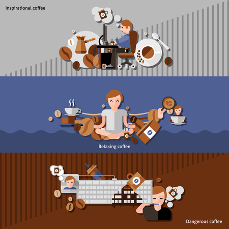 relaxing: Inspirational relaxing and dangerous coffee horizontal banners set flat isolated vector illustration Illustration