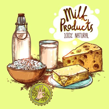 vaso de leche: Leche en botella de vidrio y el queso y la mantequilla de color boceto naturaleza muerta con el texto ilustración vectorial sin fisuras