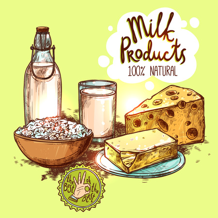 quark: Milk in bottle and glass cheese and butter sketch color still life with text seamless vector illustration