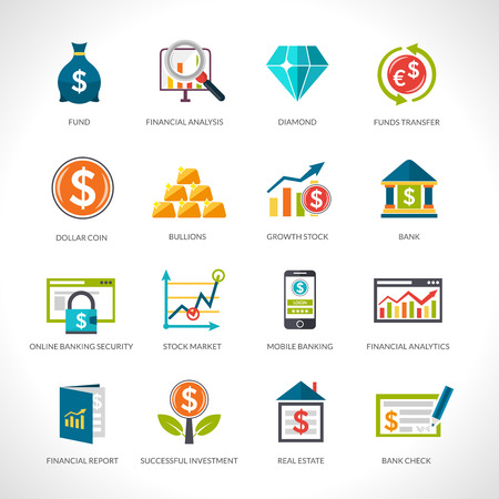 investment analysis: Financial analysis and investment funding flat design icons set isolated vector illustration