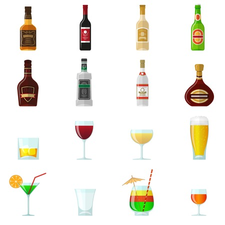 brandy: Alcohol flat icons set with whiskey brandy bottles and cocktail glasses isolated vector illustration Illustration