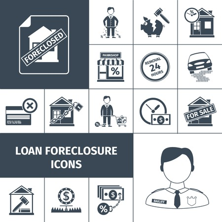 foreclosure: Loan foreclosure debt property sale icons black set isolated vector illustration Illustration