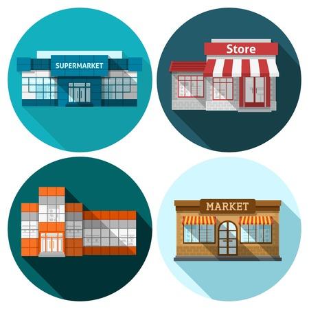 fachada: Tienda de la tienda y la construcci�n de supermercados iconos planos conjunto aislado ilustraci�n vectorial