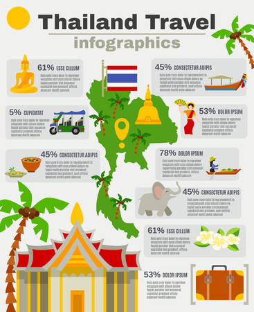 thai orchid: Thailand infographic set with map palms sights and beaches flat vector illustration
