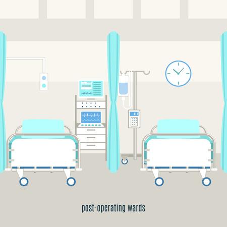 Recuperación de equipos de sala de post-operativo médico y los accesorios con los monitores para la supervisión paciente con monitores abstracto ilustración vectorial