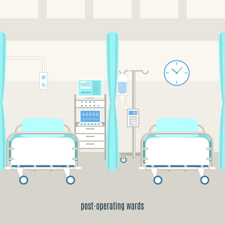 Medical post-operating recovery ward equipment and accessories with monitors for patient supervision with monitors abstract vector illustration