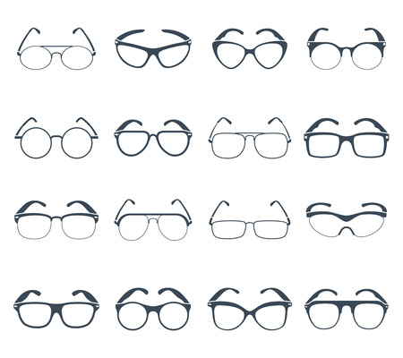 oversized: Trendy sunglasses frames for vacation season various shapes and sizes black icons set abstract isolated vector illustration