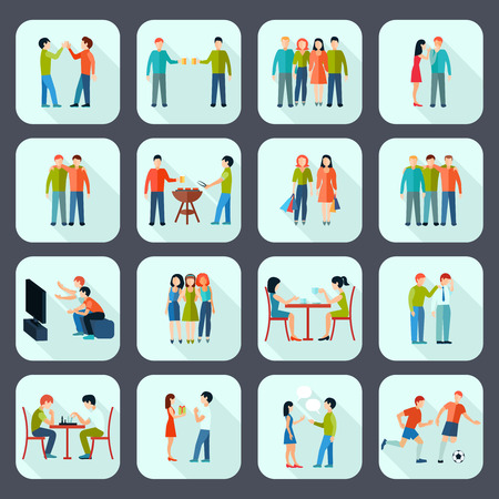 Friends shadow icons set with activities and leisure on grey background  flat isolated vector illustration Stock Illustratie