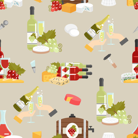 decorative accessories: Wine in bottles and glasses with cheese and accessories flat color decorative seamless pattern vector illustration Illustration