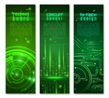 green computing: Abstract technology vertical banner set with circuit pattern on green background isolated vector illustration Illustration