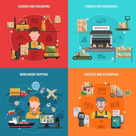 carretillas almacen: Almacén concepto de diseño conjunto con iconos planos de logística en todo el mundo aislado ilustración vectorial