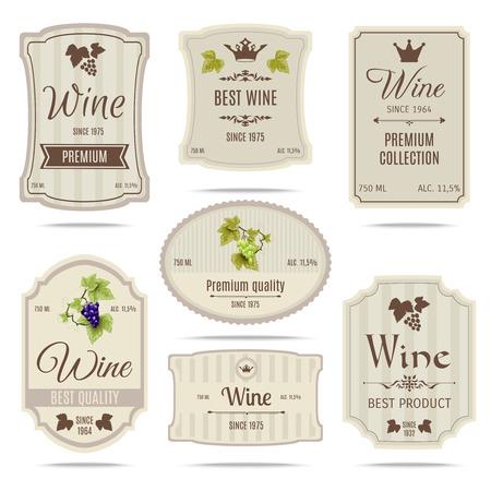 Coleta de melhores variedades de uva de qualidade especiais e nomes de marca premium de vinho etiquetas emblemas abstrato isolado ilustração vetorial