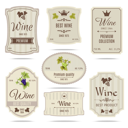 stickers: Special collection best quality grape varieties and premium wine brand names labels emblems abstract isolated vector illustration