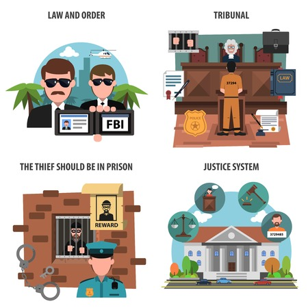 courthouse: Law and order flat decorative icons set isolated vector illustration