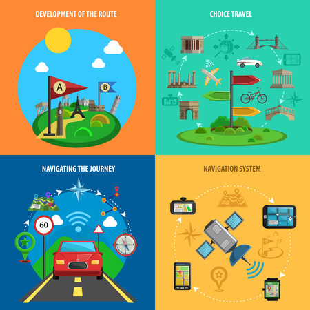 color choice: Travel choice route development and navigation systems flat color decorative icon set isolated vector illustration