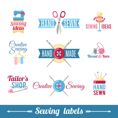 sewer: Various labels samples collection for creative  sewer self made or refashioned  clothes  identification abstract isolated vector illustration