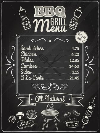 pinchos morunos: Carne de la parrilla y menú de un restaurante barbacoa en la ilustración vectorial pizarra Vectores