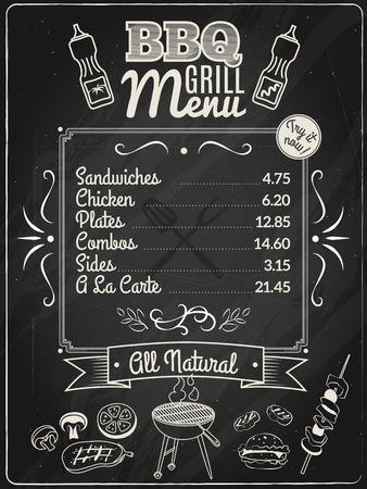 grill meat: Grill meat and barbecue restaurant menu on chalkboard vector illustration