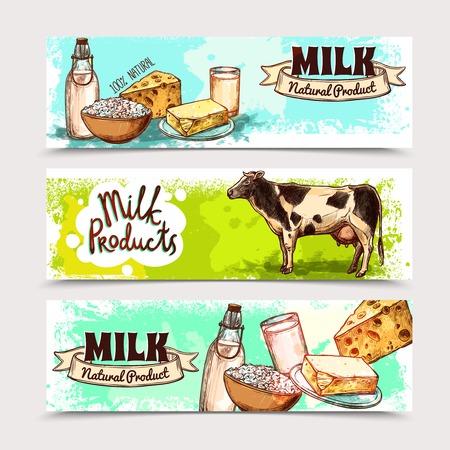 banner orizzontali: Prodotti lattiero-caseari banner orizzontale set con latteria schizzo e mucca illustrazione vettoriale isolato Vettoriali