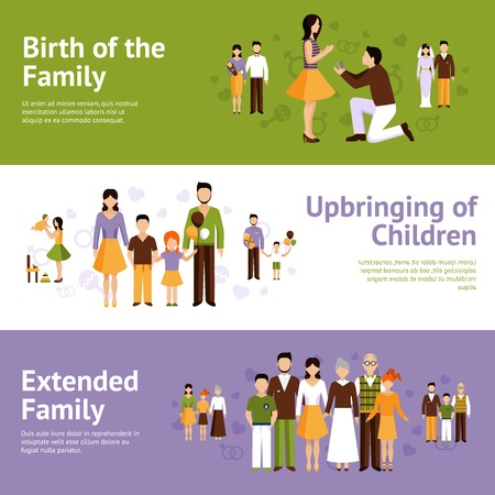 husband and wife: Family horizontal banner set with parents and children characters isolated vector illustration