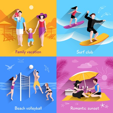 romantic getaway: People on beach design concept with family vacation surf club flat icons isolated vector illustration