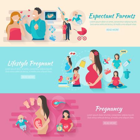 pregnancy test: Embarazo banner horizontal conjunto con los padres y los bebés elementos planos aislados ilustración vectorial Vectores