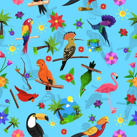 cockatoo: Exotic bird colorful seamless pattern with toucan flamingo and arara vector illustration Illustration