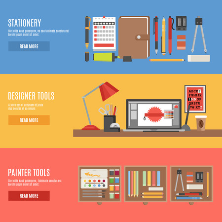 painter: Painter and designer tools in workspace or boxes and stationery flat color horizontal banner set isolated vector illustration