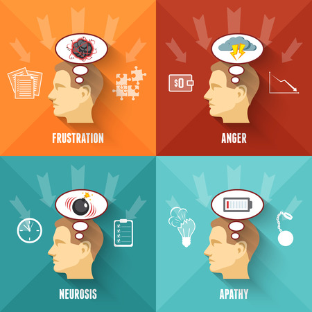 neurosis: Common work related stress disorders and apathy 4 flat icons square composition banner abstract isolated vector illustration