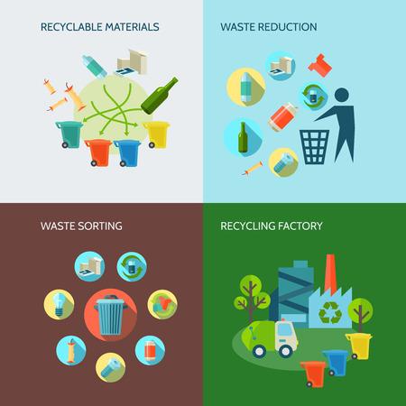 reciclar: Iconos de reciclaje y reducción de residuos establecidos con materiales y clasificación plana aislado ilustración vectorial