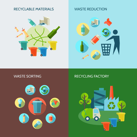 glass recycling: Recycling and waste reduction icons set with materials and sorting flat isolated vector illustration