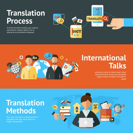 foreign language: Language translator horizontal banner set with translation methods and process elements isolated vector illustration
