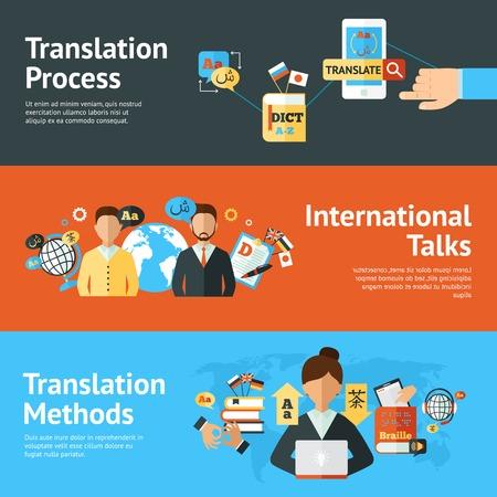 Language translator horizontal banner set with translation methods and process elements isolated vector illustration