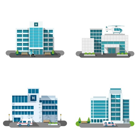 Hospital building outdoors facades flat decorative icons set isolated vector illustration