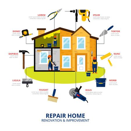 Huis renovatie en verbetering vlakke stijl concept met werklieden repareren huis met de hand en elektrisch gereedschap vector illustratie
