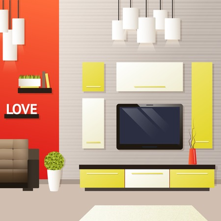 tvset: Living room interior with indoors flat furniture objects vector illustration Illustration