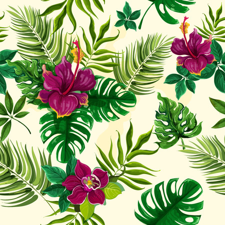 Exotic tropical rainforest plants opulent green leaves with hibiscus flowers wrap paper seamless pattern abstract vector illustration Illustration