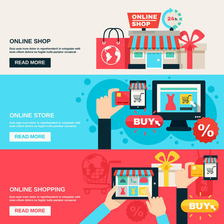 comprando: Internet mercado de compras web y tienda online color plano conjunto de banner horizontal aislado ilustraci�n vectorial Vectores